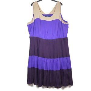 Eloquii Dress Striped Purple Tan Pleated Plus Size